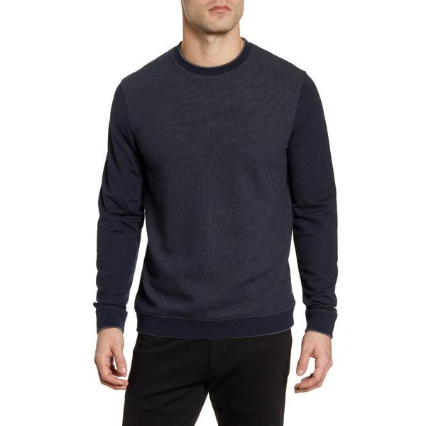 テッドベーカー メンズ シャツ トップス Raket Textureblock Crewneck Sweatshirt Navy
