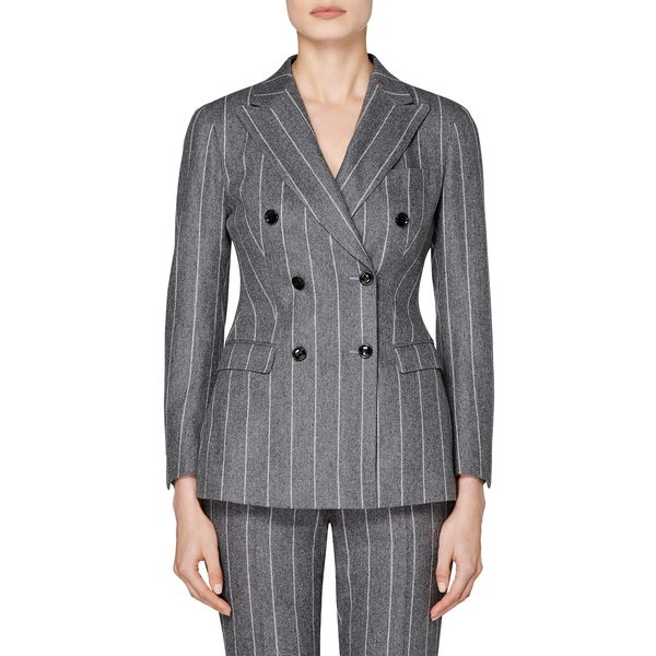 スイスタジオ レディース ジャケット&ブルゾン アウター Cameron Chalk Stripe Double Breasted Wool & Alpaca Blend Jacket Grey Chalk Stripe