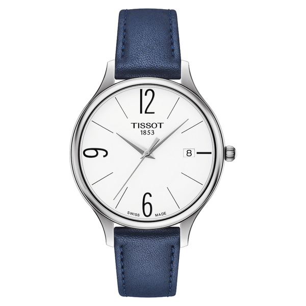 ティソット レディース 腕時計 アクセサリー Bella Ora Round Watch & Leather Strap Set, 38mm Blue/ White/ Silver