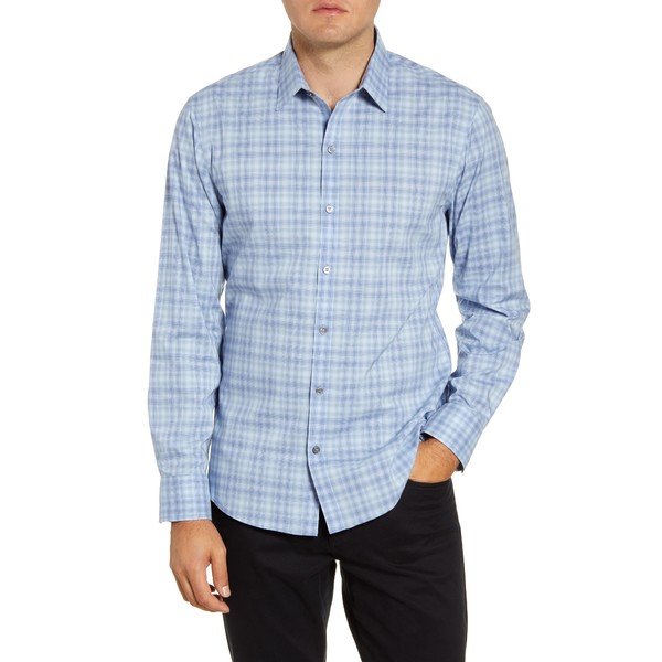 ザッカリープレル メンズ シャツ トップス Saidai Regular Fit Check Button-Up Shirt Blue