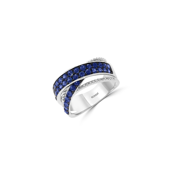 エフィー レディース リング アクセサリー Royal Bleu 14K White Gold, Natural Sapphire & Diamond Ring Blue