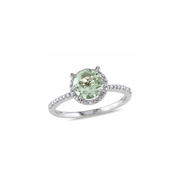ソナティナ レディース リング アクセサリー Sterling Silver, Green Amethyst and Diamond Halo Ring Silver