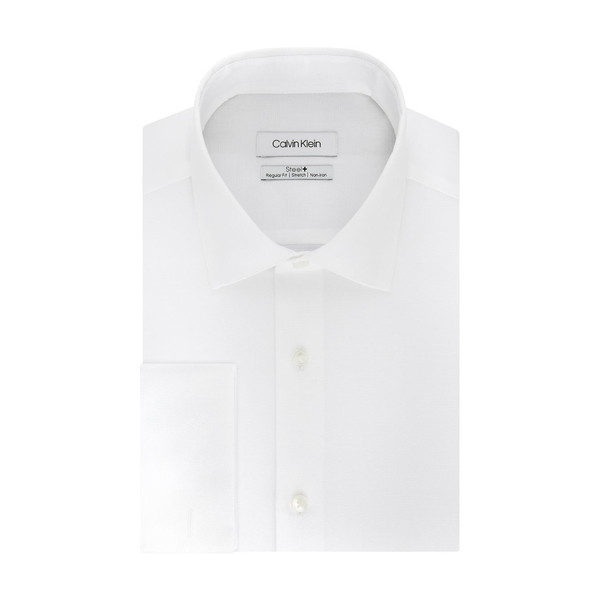 カルバンクライン メンズ シャツ トップス Steel Regular-Fit Non-Iron French Cuff Stretch Dress Shirt White