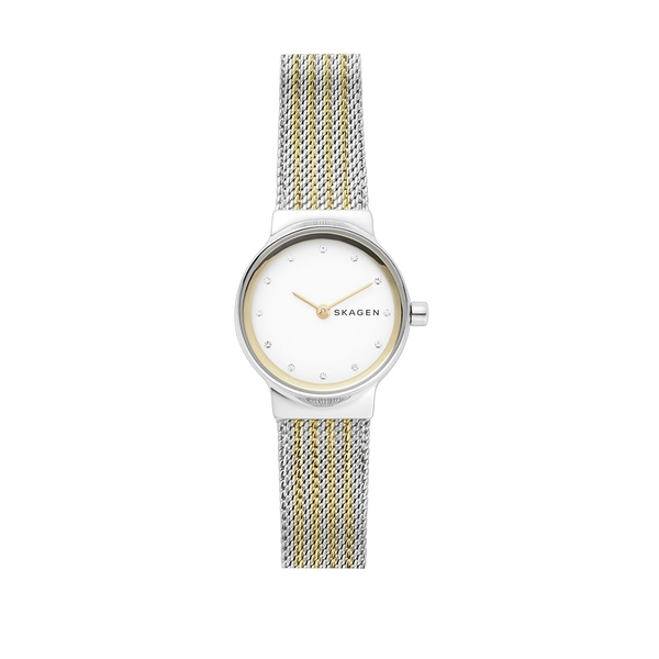 スカーゲン レディース 腕時計 アクセサリー Freja Stainless Steel Stripe Mesh Bracelet Watch Two Tone