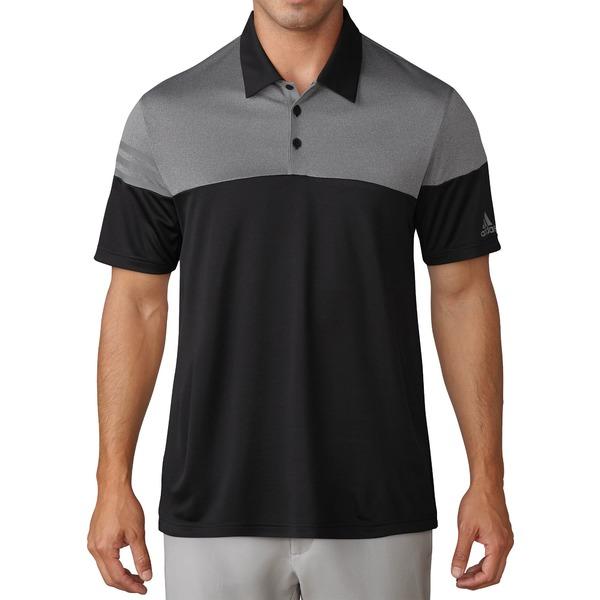 アディダス メンズ ポロシャツ トップス adidas Men's 3-Stripes Heather Block Golf Polo Black