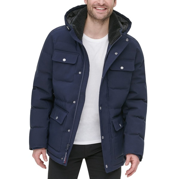 <title>Tommy Hilfiger メンズ アウター ジャケット ブルゾン Navy 全商品無料サイズ交換 至上 トミー ヒルフィガー Men's Quilted 4 Pocket Hooded Puffer Jacket</title>