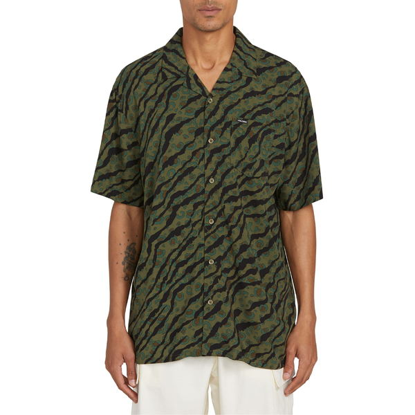 ボルコム メンズ シャツ トップス Volcom Embertone Print Short Sleeve Button-Up Shirt Army Green Combo