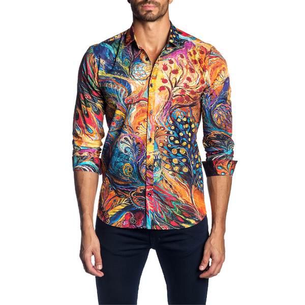 ヤレドラング メンズ シャツ トップス Jared Lang Trim Fit Art Print Shirt Orange Multi