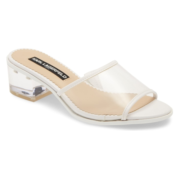 カールラガーフェルド レディース サンダル シューズ Karl Lagerfeld Paris Faina Slide Sandal (Women) Clear/ White Rubber