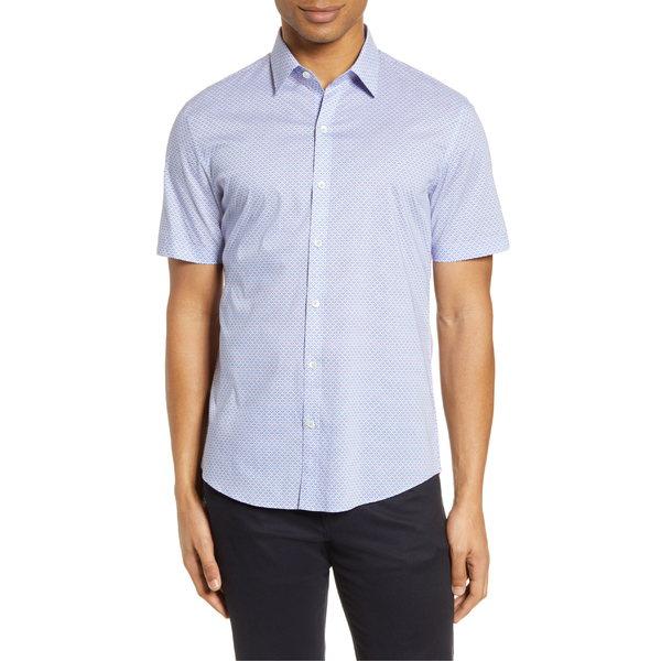 ザッカリープレル メンズ シャツ トップス Zachary Prell Dinwiddie Classic Fit Short Sleeve Button-Up Shirt Ice Blue