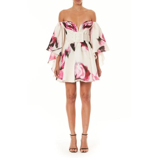 キャロライナヘレラ レディース ワンピース トップス Floral Off the Shoulder Cape Silk Minidress White Multi