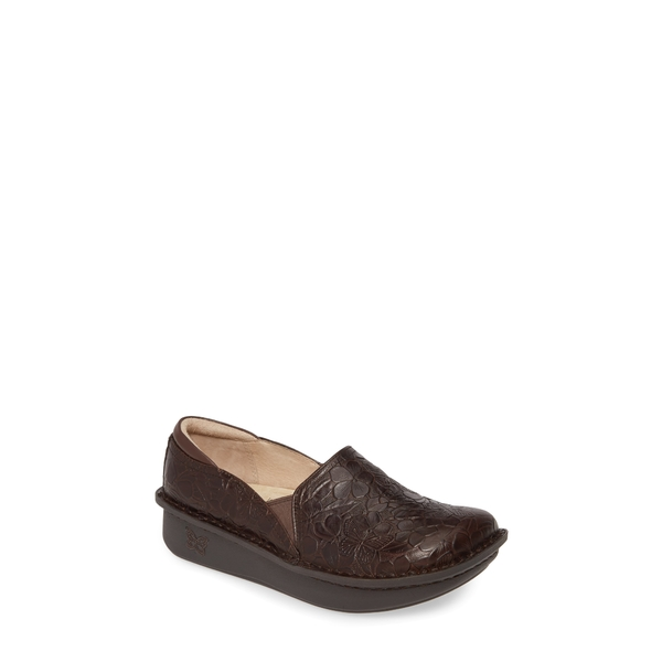 アレグリア レディース サンダル シューズ 'Debra' Slip-On Flutter Chocolate Leather