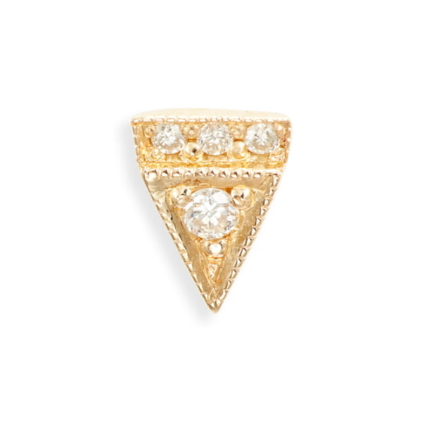 ジェニークウォン レディース ピアス&イヤリング アクセサリー Deco Point Triangle Diamond Single Stud Earring Yellow Gold/ Diamond