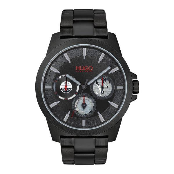 ボス メンズ ブレスレット・バングル・アンクレット アクセサリー HUGO Twist Multifunction Bracelet Watch, 44mm Black