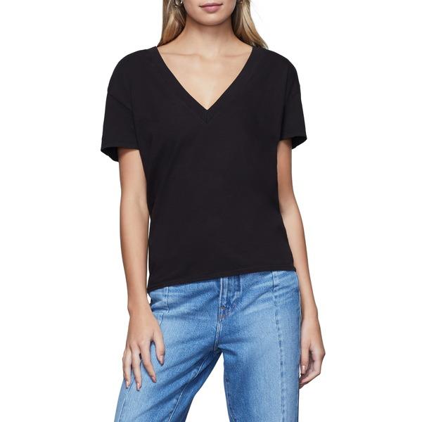 グッドアメリカン レディース Tシャツ トップス V-Neck Jersey T-Shirt Black001