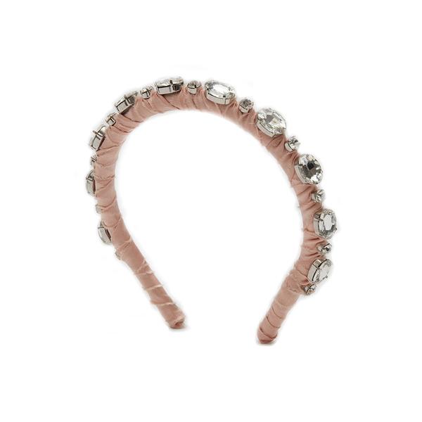 レレットニューヨーク レディース ヘアアクセサリー アクセサリー Aixza Silk Wrap Crystal Headband Blush