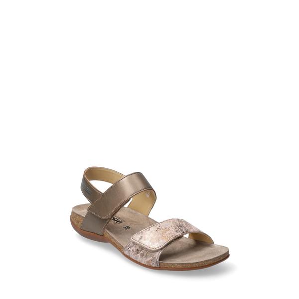メフィスト レディース サンダル シューズ 'Agave' Sandal Pewter Metallic Leather