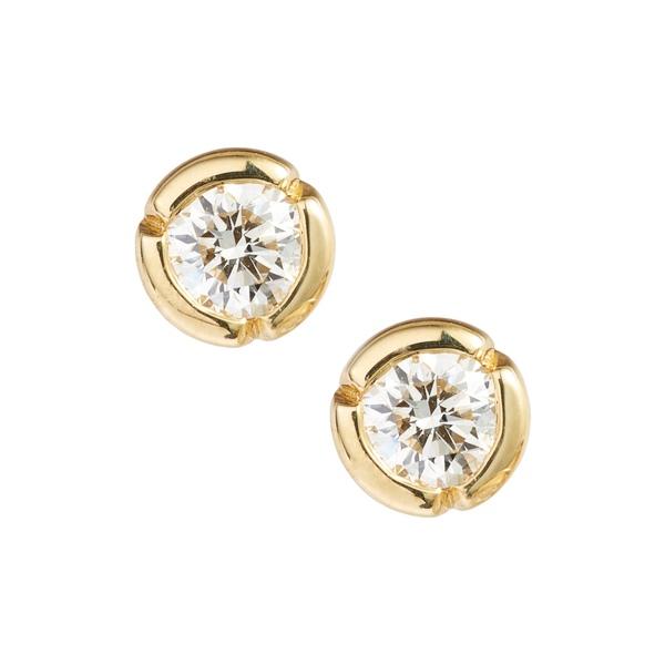 ボニー レヴィ レディース ピアス&イヤリング アクセサリー Large Bezel Diamond Stud Earrings Yellow Gold/ Diamond