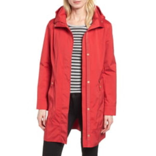 コールハーン レディース コート アウター Back Bow Packable Hooded Raincoat Red