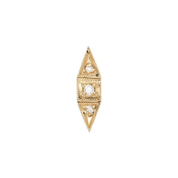 ジェニークウォン レディース ピアス&イヤリング アクセサリー Deco Point Diamond Single Stud Earring Yellow Gold/ Diamond/ Pearl