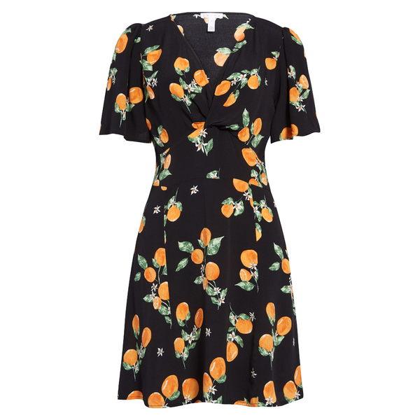 ライス レディース ワンピース トップス Twist Front A-Line Minidress Black Oranges