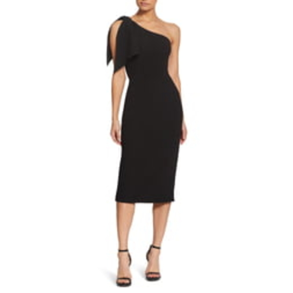 ドレスザポプレーション レディース ワンピース トップス Tiffany One-Shoulder Midi Dress Black