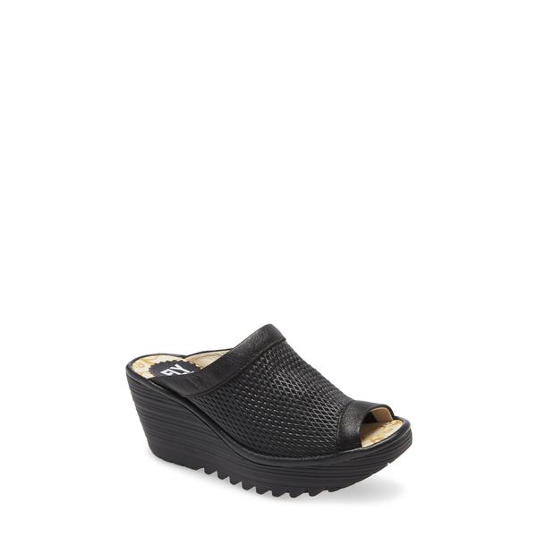 フライロンドン レディース サンダル シューズ Yeno Wedge Slide Sandal Black Menorca/ Mousse Leather