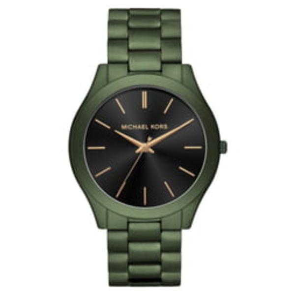 マイケルコース メンズ ブレスレット・バングル・アンクレット アクセサリー Slim Runway Bracelet Watch, 45mm Green/ Black/ Green