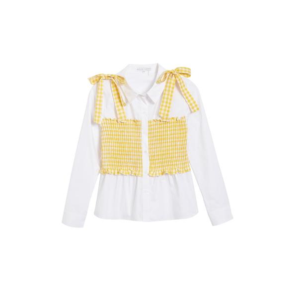 イングリッシュファクトリー レディース シャツ トップス Gingham Smocked Button-Up Shirt White/ Dandelion
