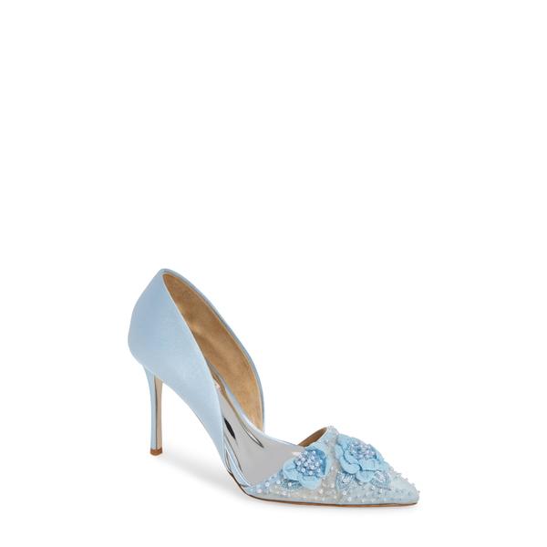 バッドグレイミッシカ レディース パンプス シューズ Badgley Mischka Ophelia Beaded Floral Pointed Toe Pump Light Blue Satin