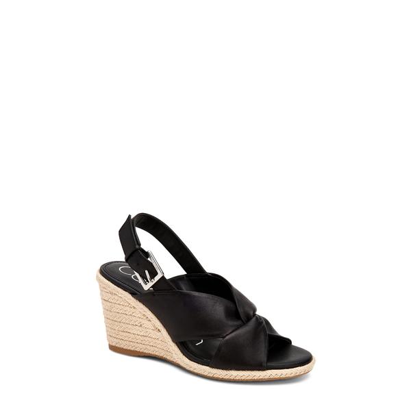 カルバンクライン レディース サンダル シューズ Brennah Espadrille Wedge Sandal Black Leather