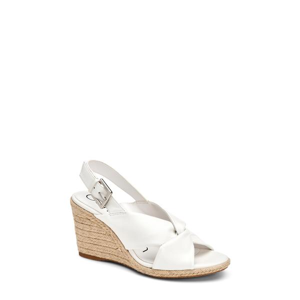 カルバンクライン レディース サンダル シューズ Brennah Espadrille Wedge Sandal White Leather