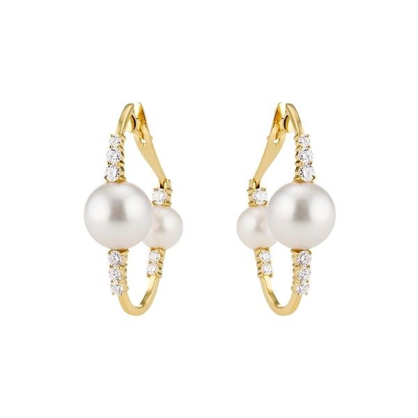 エイチ ユー エー ビー レディース ピアス&イヤリング アクセサリー Spectrum Diamond & Pearl Hoop Earrings Diamond/ Pearl