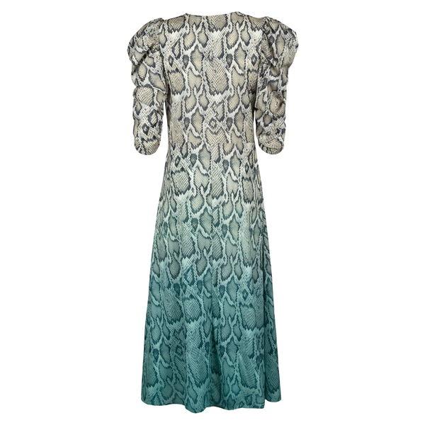 エーエフアールエム レディース ワンピース トップス Ellis Snake Print Dip Dye Midi Dress Teal Ombre Tie Dye