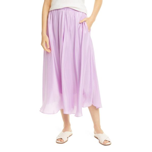 ヴィンス レディース カジュアルパンツ ボトムス Gathered Silk Midi Skirt Lila