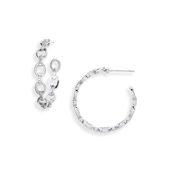 スターリングフォーエバー レディース ピアス&イヤリング アクセサリー Chain Hoop Earrings Silver