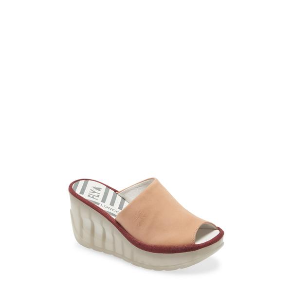 フライロンドン レディース サンダル シューズ Jamb Wedge Slide Sandal Nude Pink Cupido Leather