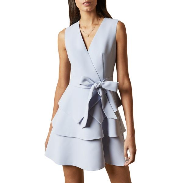 テッドベーカー レディース ワンピース トップス Reinah Tiered Fit & Flare Dress Light Blue