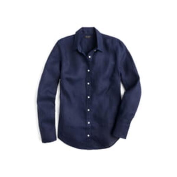 ジェイクルー レディース シャツ トップス Slim Fit Perfect Piece-Dyed Irish Linen Shirt Navy