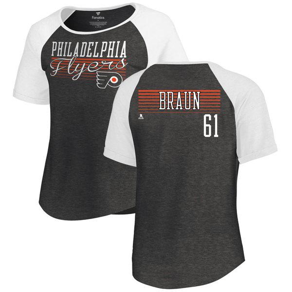 ファナティクス レディース Tシャツ トップス Philadelphia Flyers Fanatics Branded Women's Personalized Assist Triblend TShirt Black