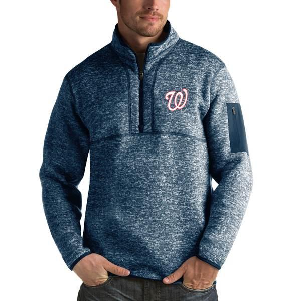 アンティグア メンズ シャツ トップス Washington Nationals Antigua Fortune HalfZip Sweater Heathered Navy