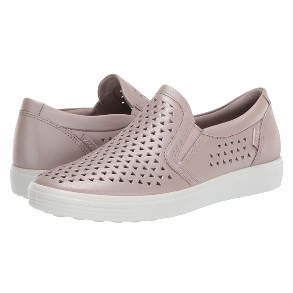 エコー レディース スニーカー シューズ Soft 7 Laser Cut Slip-On Grey Rose Metallic Cow Leather