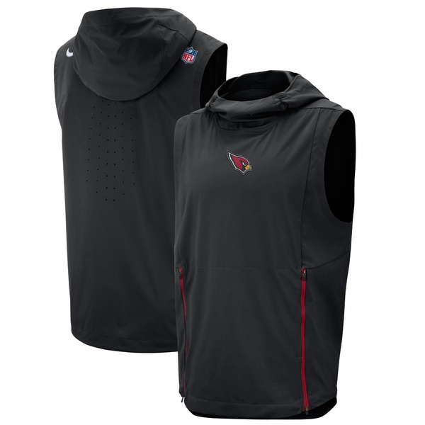 ナイキ メンズ ジャケット&ブルゾン アウター Arizona Cardinals Nike Sideline Fly Rush Performance Pullover Hooded Vest Black