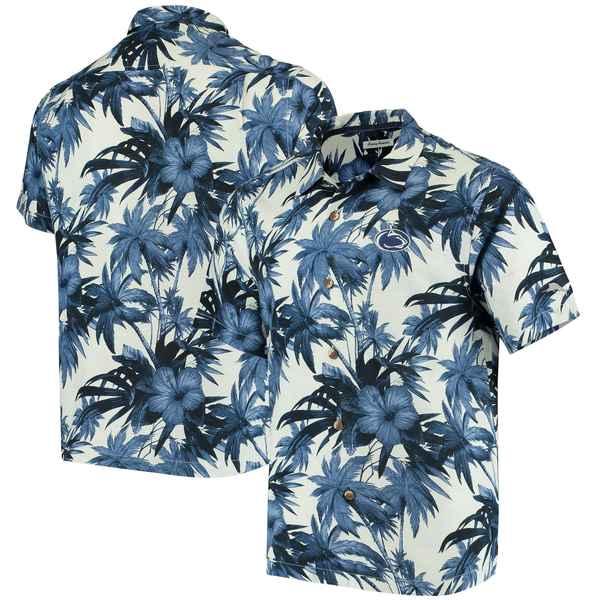 トッミーバハマ メンズ シャツ トップス Penn State Nittany Lions Tommy Bahama Harbor Island Hibiscus ButtonUp Shirt Navy