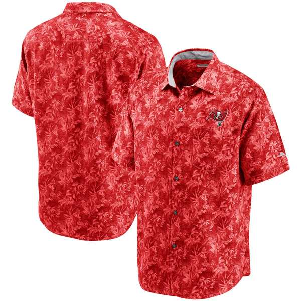 トッミーバハマ メンズ シャツ トップス Tampa Bay Buccaneers Tommy Bahama Sport Jungle Shade Camp ButtonDown Shirt Red