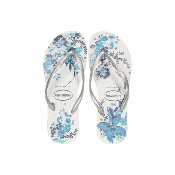 商舗 全店販売中 ハワイアナス レディース シューズ サンダル White Bright Organic Silver 全商品無料サイズ交換 Slim Flip Flops