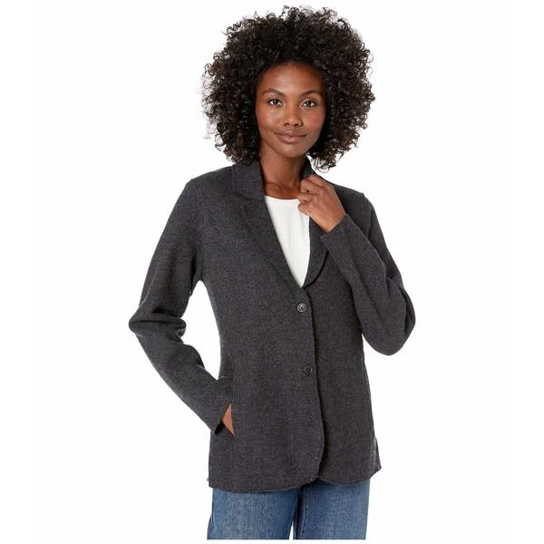 エイリーンフィッシャー レディース コート アウター Lightweight Boiled Wool Notch Collar Jacket Charcoal