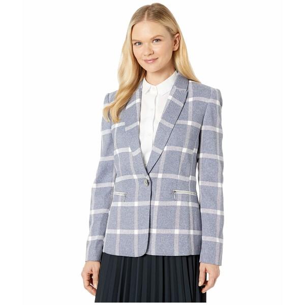 タハリ レディース コート アウター Undercollar Combo Jacket with Zippers Blue/White Plaid