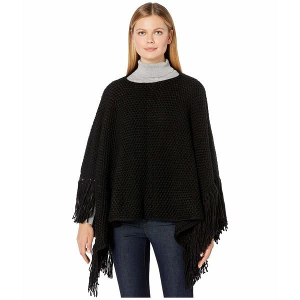 エコーデザイン レディース ニット&セーター アウター Chunky Knit Poncho with Maxi Tassels Black