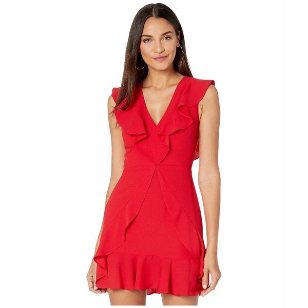 ビーシービージーマックスアズリア レディース ワンピース トップス Short V-Neck Dress with Ruffle Detail Burnt Red